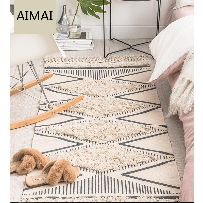 Tapis marocain tufté en coton tissé à la main glands confortables imprimé tapis de sol intérieur pour chambre à coucher, salon avec antidérapant - 2