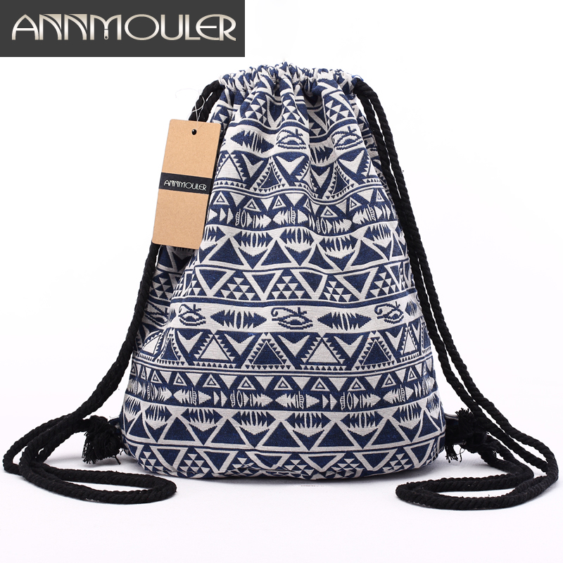 Annmouler Vintage Bacpacks Women Aztec Chic Drawstring Backpack Gypsy Bohemian Hobo Bag Folk Tribal Ethnic Fabric String Bag metting joura vintage bohemian ethnic tribal flower print stone handmade elastic headband hair band design hair accessories