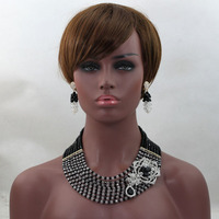 Latest Black Silver Women Nigerian Wedding Beads Jewelry Set Crystal Rhinestone Beaded Necklace Set Accessory Free Ship WD151