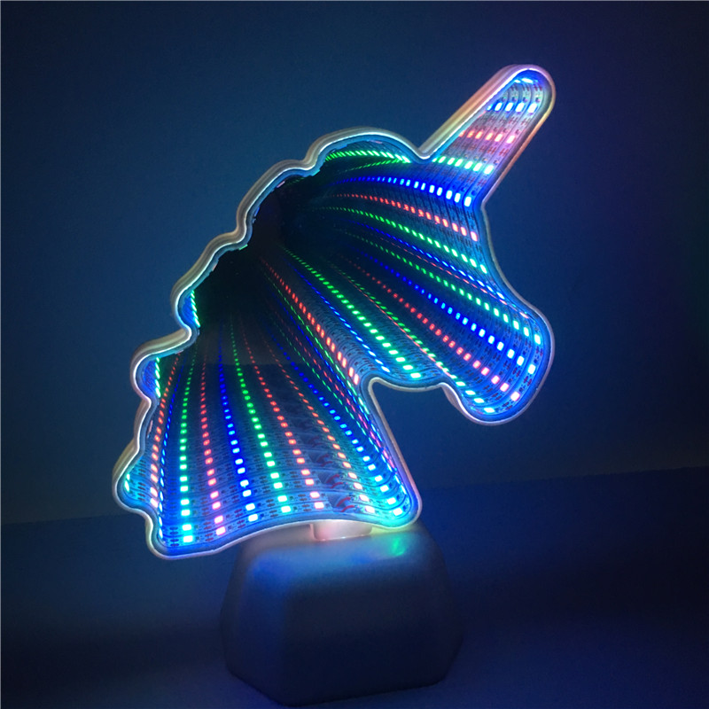 Leedome Creative Colorful Unicorn Head LED Night Light Up Table Lamp AA Battery Led Kids Bedroom Home Decoration Xmas Lighting