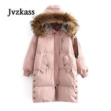 Jvzkass Cotton clothing female 2018 winter long section cotton coat real hair big fur collar thick jacket tide Z224
