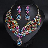 2016 New Fashion Africa Wedding Jewelry Set Austrian Crystal Necklace Earrings For Bridal Jewelry Set NER