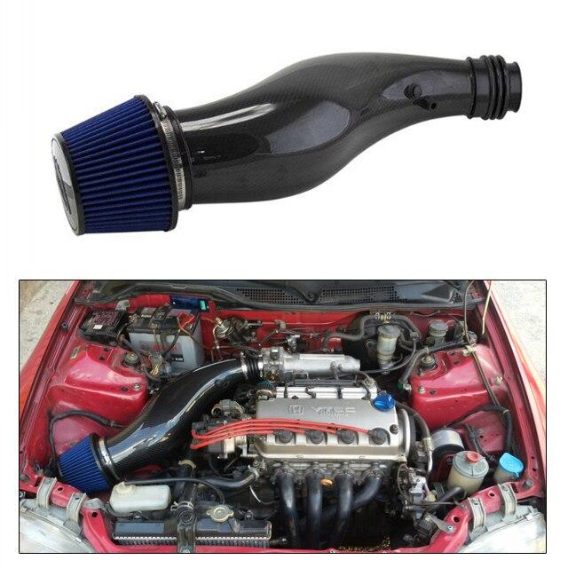 Véritable tuyau d'admission d'air en Fiber de carbone pour Honda Civic 92-00 par exemple EK avec filtre à Air moteur tuyau d'admission froide