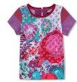 Catimini 2016 nueva Catimini niña rojo impreso de manga CORTA t-shirt Camiseta de las muchachas catimini niñas ropa 6