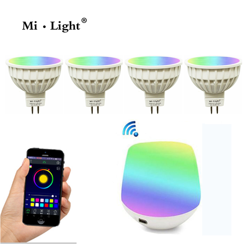 Milight MR16 spot light DC12V 2.4G Wireless  Dimmable Led Bulb  RGB+CCT Led Spotlight Smart Led Lamp+ wifi ibox dc12v 2 4g wireless milight dimmable led bulb 4w mr16 rgb cct led spotlight smart led lamp home decoration