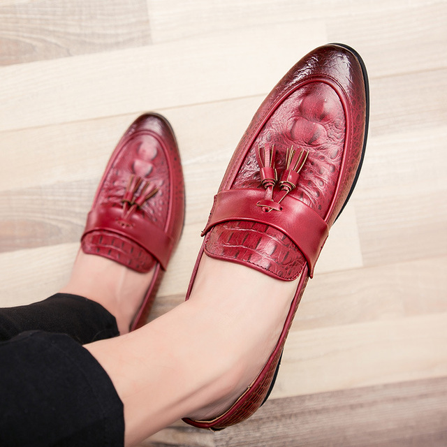 M-anxiu Fashion Mens Tassel Office Footwear Leather Italian Formal Snake Skin Dress Shoes 2018 New Fashion