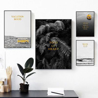 Highway Yellow Bus Sea Waves Boat Golden English Alphabet Bedroom Artistic Beauty Picture Canvas Posters For