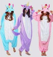 Free Shipping 2016 Wholesale New Adult Unisex Flannel Hoodie Pony Unicorn Pajamas Costume Cosplay Animal Onesies