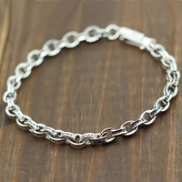 Solid Sterling Silver 925 Simple Link Chain Bracelet Men Women 16 22cm Dia 5mm 100 Real