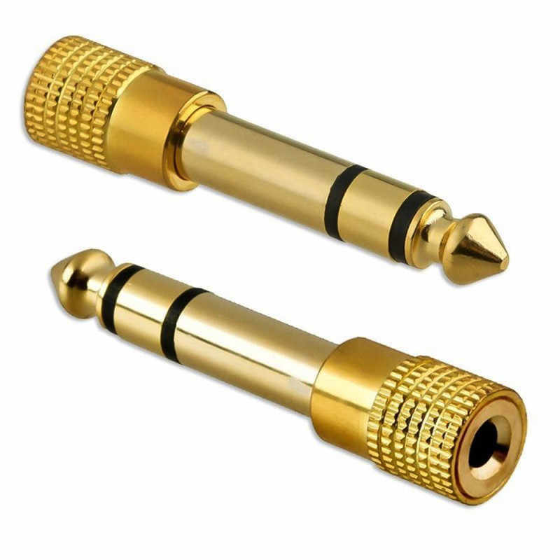 "Promotion Gold 6.3mm 1/4"" Male Plug to 3.5mm 1/8"" Female Jack Stereo Headphone Audio Adapter Home Connectors Adapter Microphone"