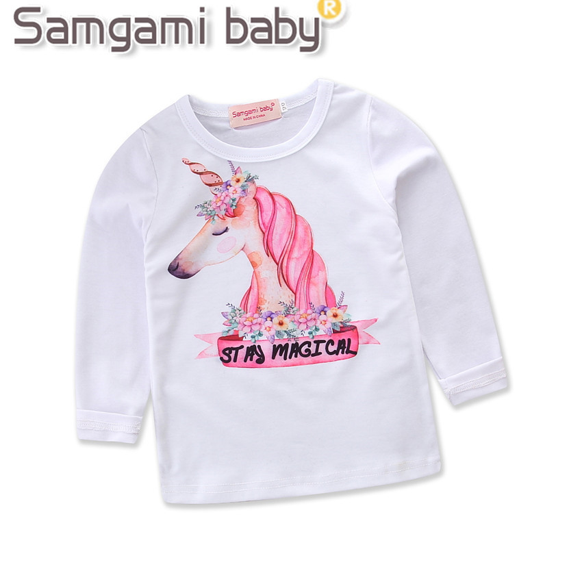 Girls Tops Spring Children Favourite Unicorn Cool Cartoon Kids T shirts Girl Clothes Kids Tee Shirt baby girl Clothing