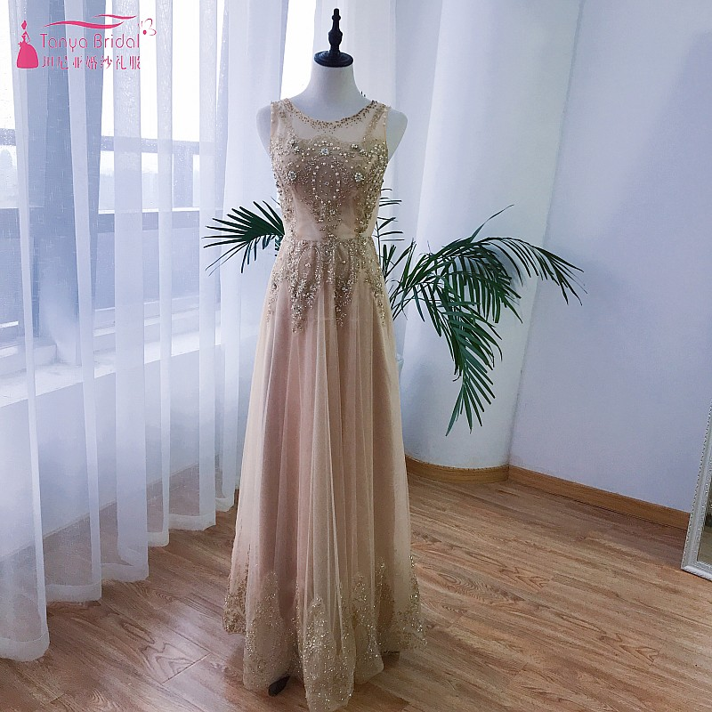 Champagne Gold Sequin Long Prom Dresses 2018 Sexy Illusion