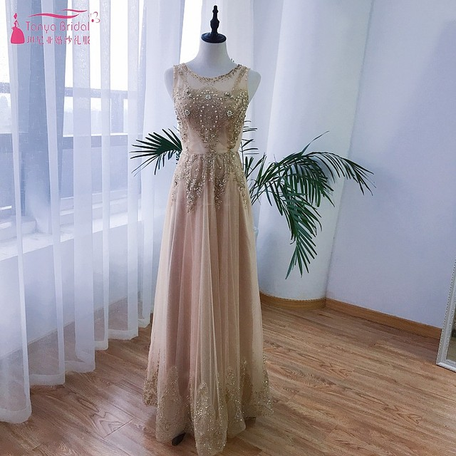 Champagne Gold Sequin Long Prom Dresses 2018 Sexy Illusion Tulle Elegant Cheap Real Photo Evening Formal Dress Gown  DQG326