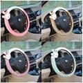 Lindo conejo de dibujos animados cubierta del volante del coche de la felpa del invierno arco mujeres niñas rueda cubre coche que labra decoraciones accesorios de auto