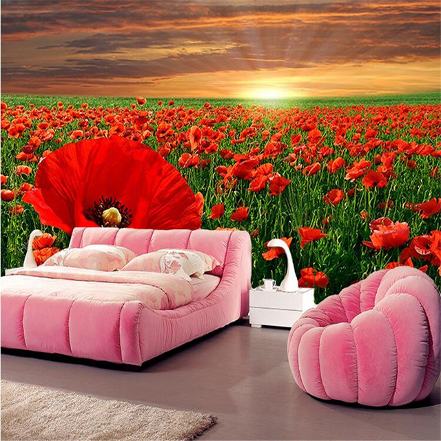 Beibehang Wallpaper 3d Modern Simple Sofa Background Beautiful Poppy