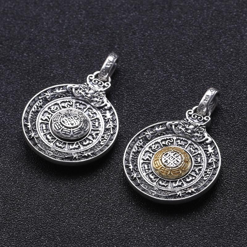 Usine en gros 925 bijoux en argent Sterling Jiugong Gossip rotatif amulette pendentif chanceux hommes et femmes pendentif