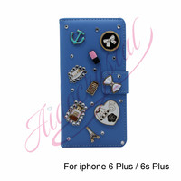 Aidocrystal Blue PU Leather Case Cover Cute Lipstick Bow Decor Flip Wallet Cover For Iphone 6s