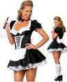 Zt8181 traje francês da empregada doméstica uniforme Sexy adulto vestido de cosplay sem escova de pele,ML Xl, 2xl, 3xl, 4XL