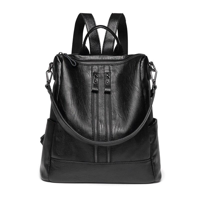 High Quality Knapsack Vintage Backpack Large Size Rucksack Soft PU Leather Package Multi-function Bag Ladies Casual Travel Bag