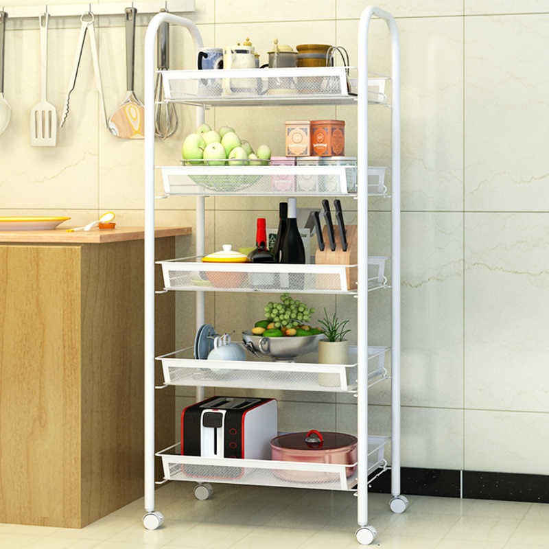 5-tiers Kitchen Shelf Bakers Rack Kitchen Cart Stand Bathroom Storage Rack  Shelving Organization With Wheels