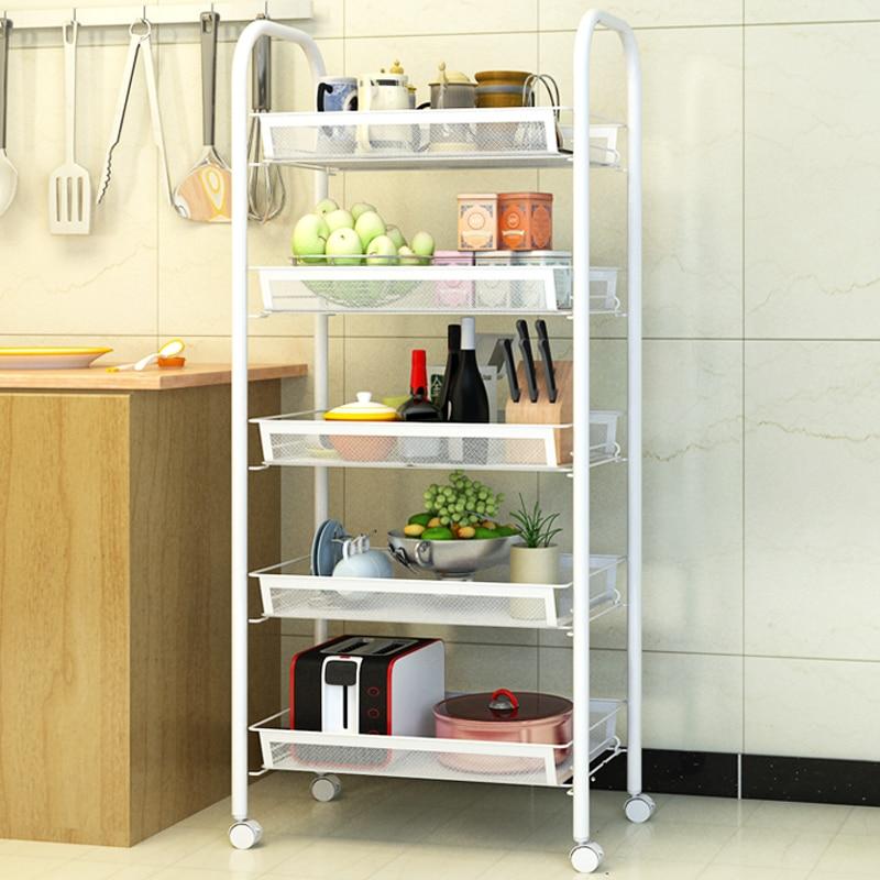 5 tiers kitchen shelf bakers rack kitchen cart stand - Bathroom storage cart with wheels ...