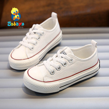 Girls canvas shoes spring Autumn white Running Sneakers children kids soft and comfortable boys Flat school - discount item  27% OFF Children's Shoes