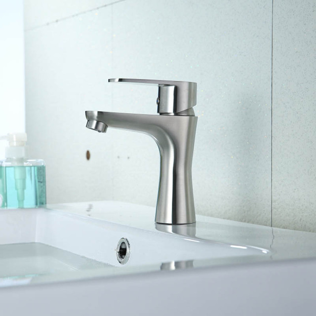 Bathroom Sink Faucet All Stailnless Steel Material Single Handle ...