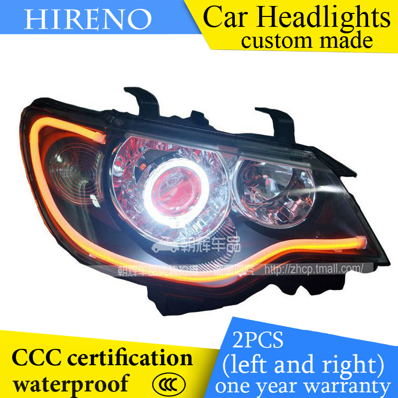 Hireno custom Modified Headlamp for Citroen Elysee 2008-13 Headlight Assembly Car styling Angel Lens Beam HID Xenon 2 pcs