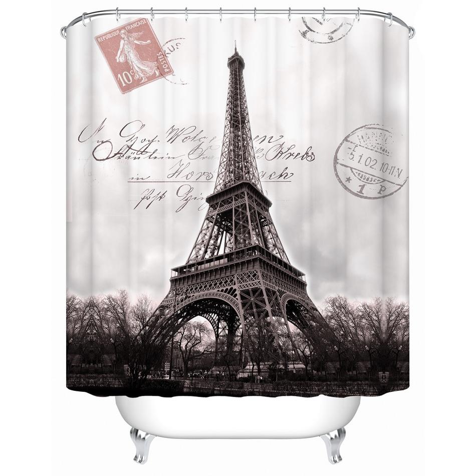 WARM TOURModern Style Shower Curtain Big Ben U0026 Eiffel Tower High Quality  Polyester Thicken Waterproof Bathing