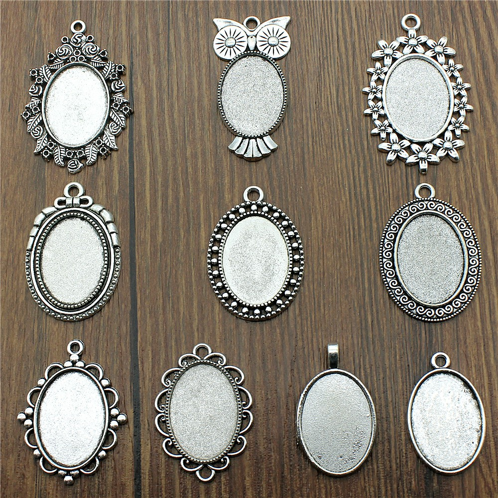 10pcs/lot Fit 18x25mm Oval Glass Cabochon Base Setting Pendant Tray For Jewelry DIY Making Antique Silver Color FM4012