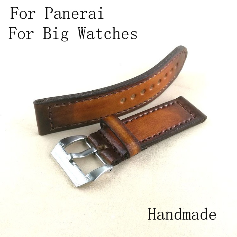 Handmade 18mm 19mm 20mm 21mm 22mm 23mm 24mm 25mm 26mm Vintage Leather Strap Bracelet, Retro Watchband For Pam And Big Watch 20mm 22mm 24mm 26mm khaki genuine leather watchband retro type watchband suitable for pam watches and rough watch free shipng