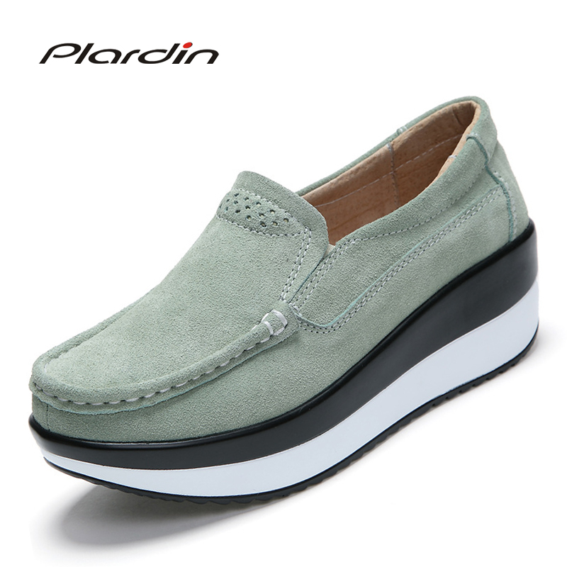 plardin Spring/Autumn New women's shoes flats on the platform of slip on shoe ladies suede Comfortable casual Sewing Woman Shoes