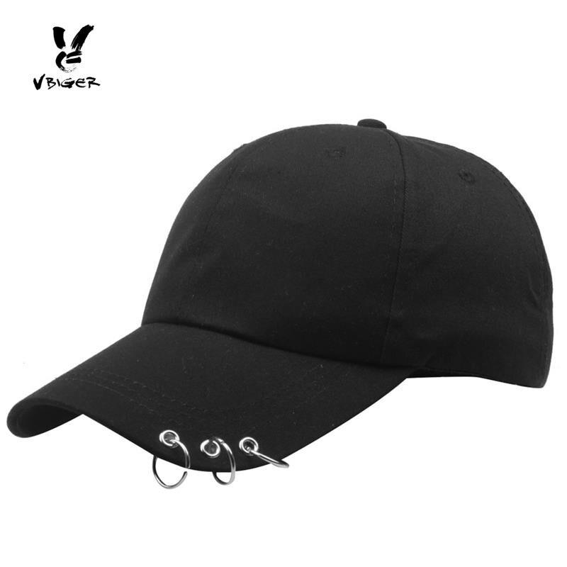 Vbiger Baseball Hat Adjustable Peaked Cap Chic Metal Ring Baseball Cap Trendy Ring Hoop Hat for Men Women with Metal Rings trendy ms plaid flat topped hat cap