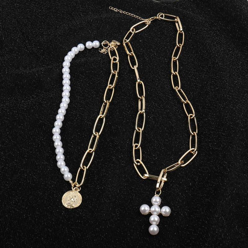 Kmvexo design de luxo imitação pérolas gargantilha colar feminino cruz pingente colares para as mulheres 2019 moda ouro moeda jóias