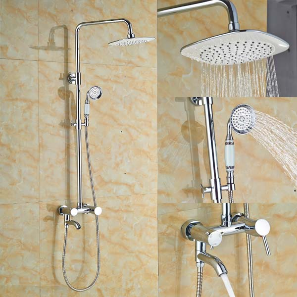 Bathroom Shower Faucet Set Tub Mixer Tap 8 Inch Shower Head and Hand Shower Chrome Finish thermostatic valve mixer tap w hand shower tub spout tub faucet chrome finish