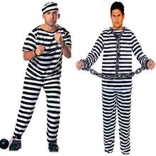 New Men Women Black White Striped Custume prisoners Halloween costume set Prison Party Costumes Role Play Free Size 2 Style(China)