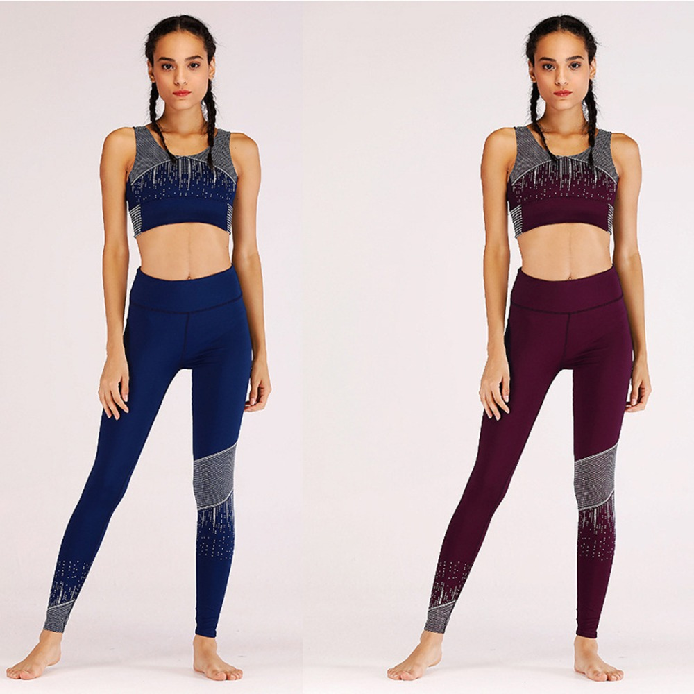 Summer hot new fashion fitness color printing nine points leggings breathable slim high waist casual women