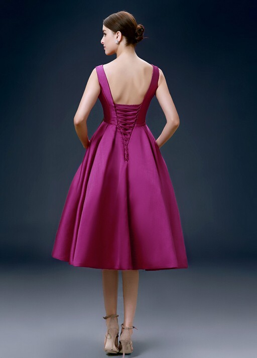 knee length fuchsia dress (1)