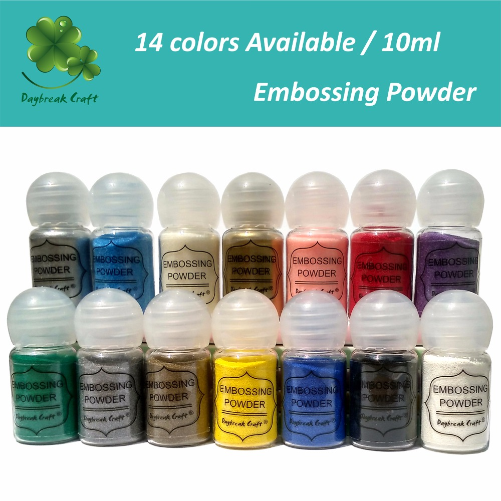 (pack Of 14 ) Wholesle Embossing Powder Metallic Paint Shiny 14 Colors Mixed  DIY Material High Quality 10ml