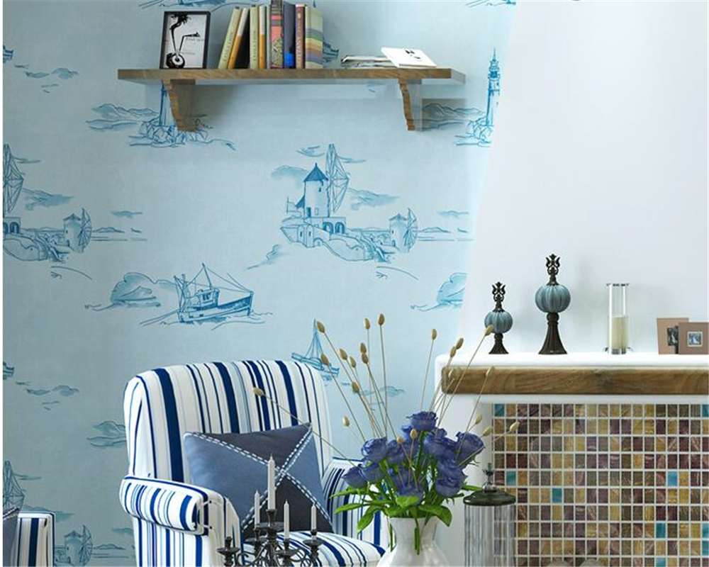 beibehang Cute cartoon children room sailing nonwovens wallpaper living room bedroom background wall papel de parede wall paper in Wallpapers from Home Improvement