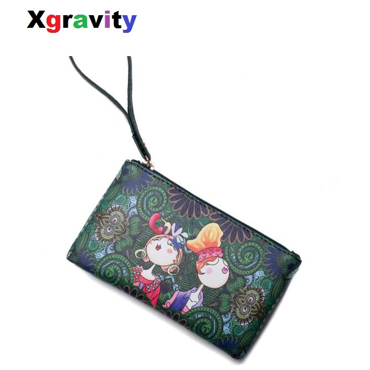 Xgravity Cartoon Print Women Clutch Bag High Quality Leather Coin Purses Bags Ladies Colorful Small Shoulder Flap Wallets <font><b>H002</b></font> image