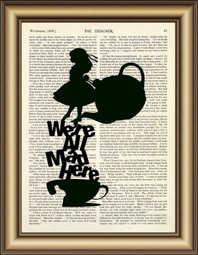 Com Buy Alice In Wonderland We Are All Mad Quote Dictionary Wall Art