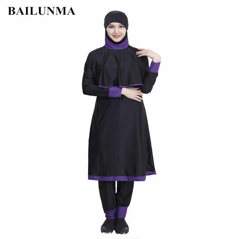 106d9f92824 Plus Size Chest pad Modest Muslim Swimwear Hajib connection 2 pieces  Islamic Swimsuit For Women Full