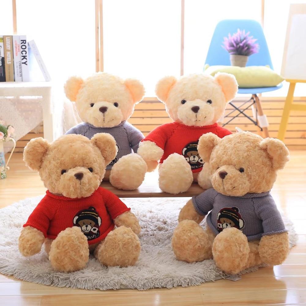 Creative Sweater Bear Suffed Plush Toy, Cute Teddy Bear Doll, Large Teddy Bear Plush Toy, Kid Toy, 60cm, 90cm new creative plush bear toy cute lying bow teddy bear doll gift about 50cm