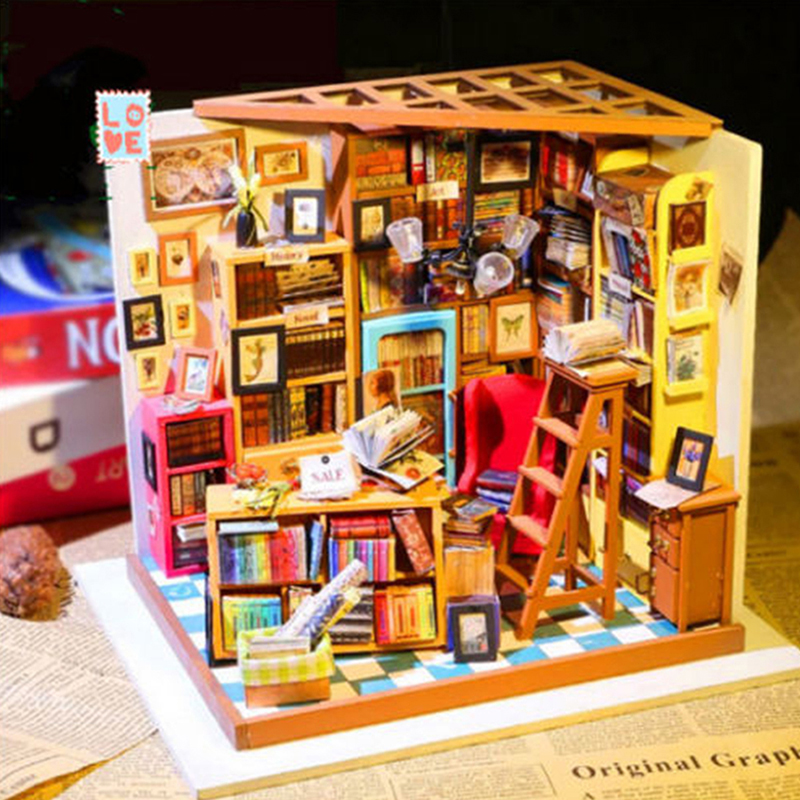 Doll House Sam Bookstore Miniature Dollhouse DIY 1:12 Mini Doll House 3D Puzzle Wooden Doll House Micro Landscape Model ingbaby бра arte lamp volare a4590ap 2ss