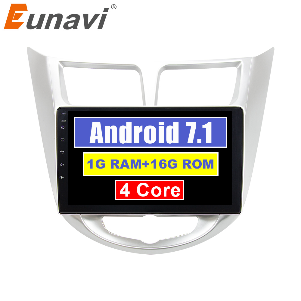 Eunavi 2 Din Quad Core Android 7.1 Car Radio Stereo GPS Navigation For Hyundai Solaris Verna Accent Headunit PC 1024*600 HD