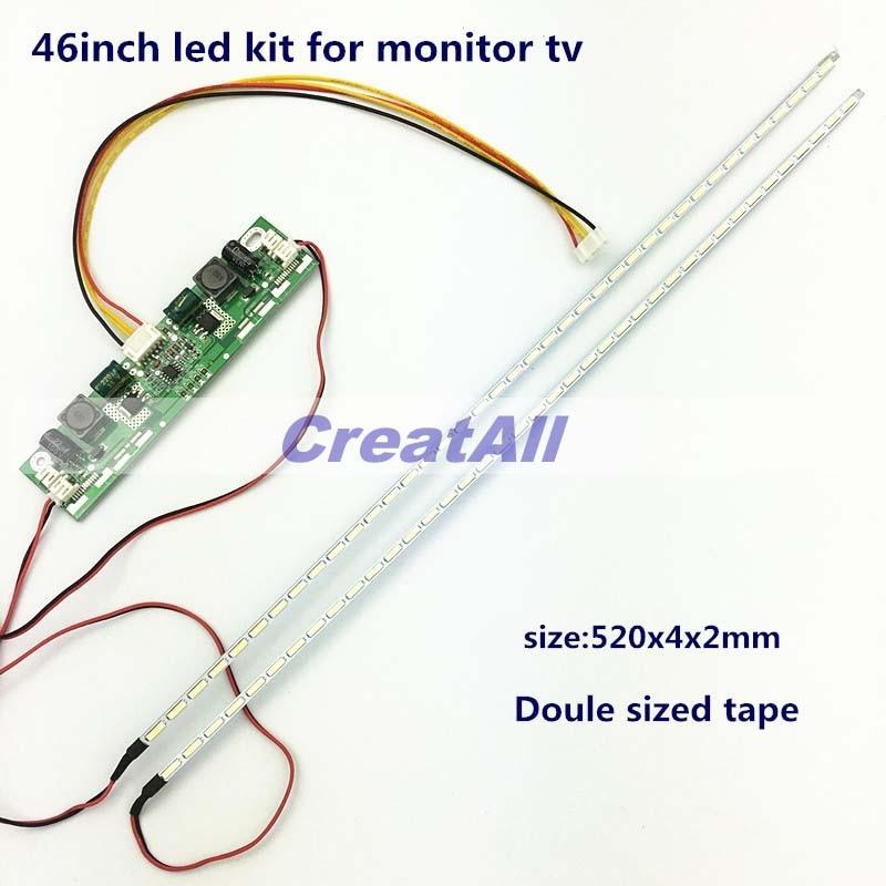46inch 7020 LED Aluminum Plate Strip Backlight Lamps Update Kit For LCD Monitor TV Panel 2 LED Strips 520mm