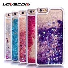 LOVECOM Para o iphone 6 6 S 7 Mais 4 4S 5 5S SE 5C Casos de telefone Glitter Estrelas Dinâmico Líquido Quicksand PC Rígido Capa Capa Shell