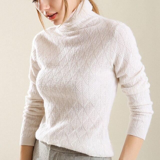 Kaszmirowe miękkie swetry z golfem i pulowery dla kobiet ciepły, puszysty jesienno zimowy sweter damski sweter marki