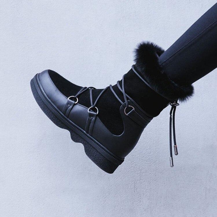 Pl Frauen Winter Wildleder Kuh 2018 chel Kn {zorssar} Weibliche Casual Warme Stiefel Pelz Schnee Flache oxrBedC